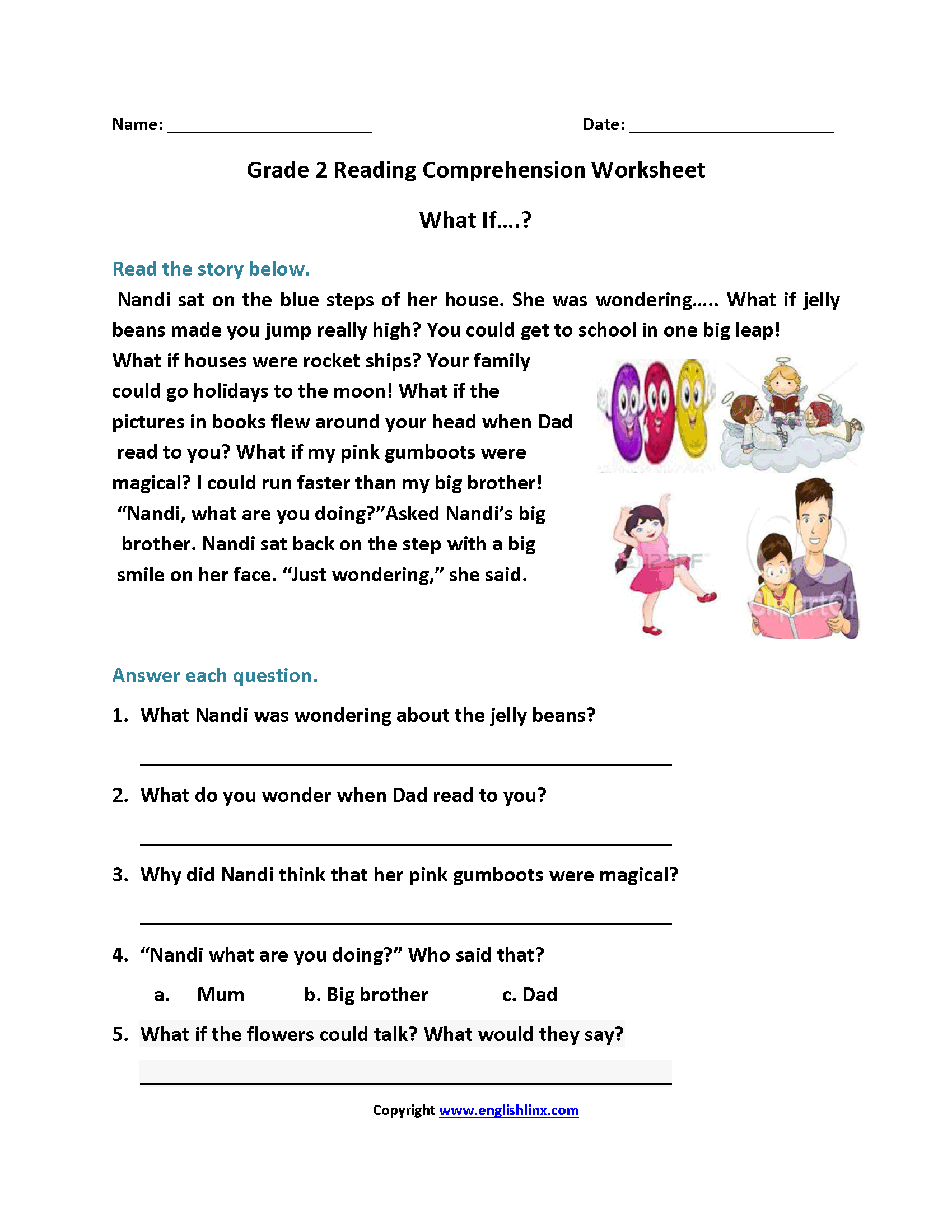 This is an image of Amazing 2nd Grade Reading Printable Worksheets