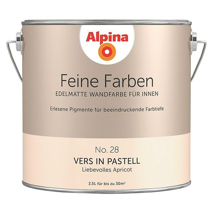 Alpina Wandfarbe Feine Farben (2,5 l, Vers in Pastell, No. 28 - Liebevolles Apricot, Matt)