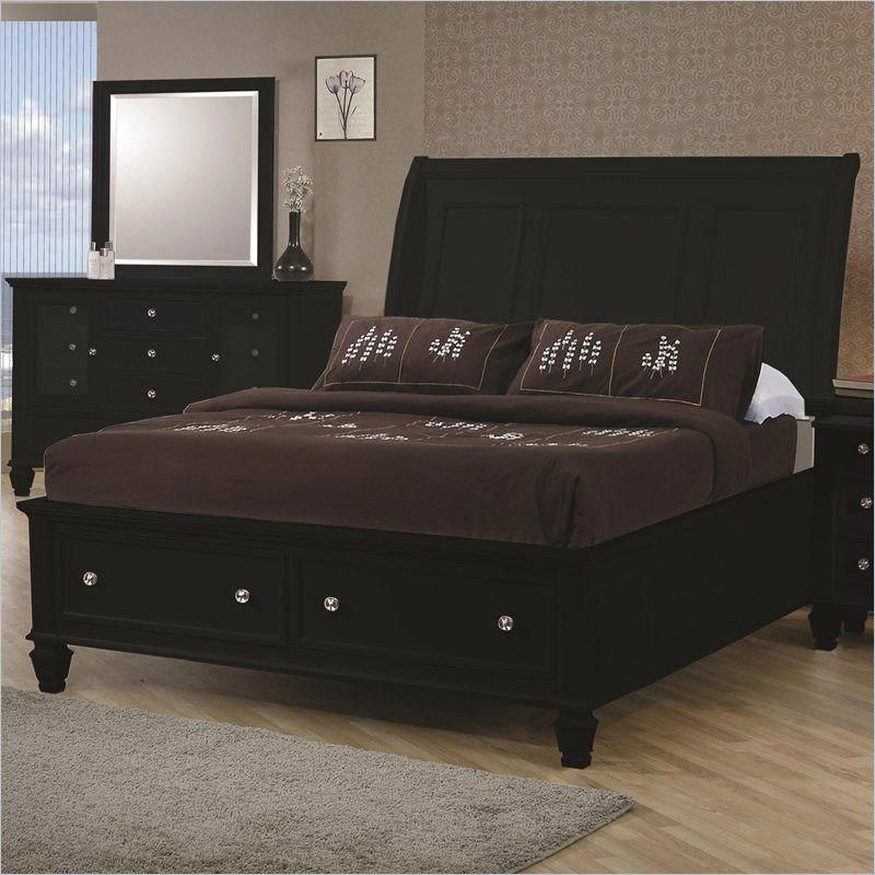 Coaster Sandy Beach Sleigh Bed with Storage Footboard in Black