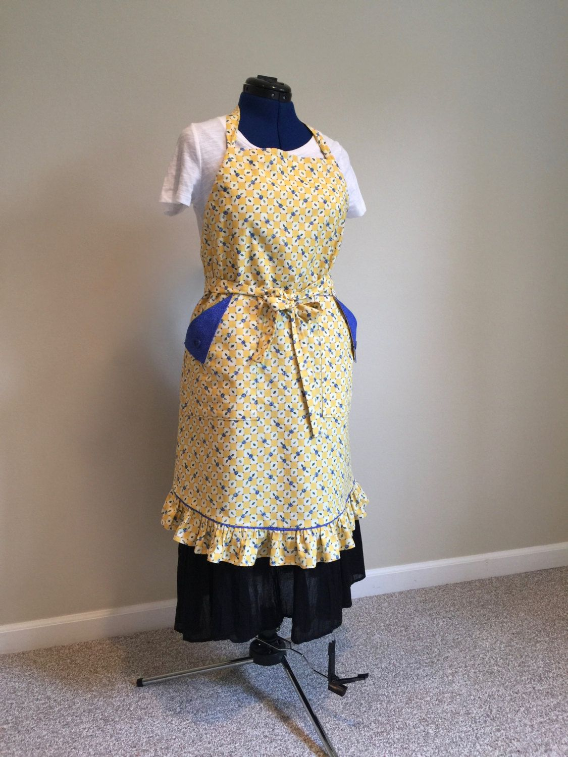 French Farmhouse Apron//ruffled apron//adjustable apron//yellow and blue apron by Sewginidesigns on Etsy
