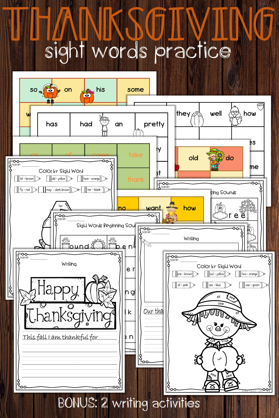 Thanksgiving Sight Words Activities