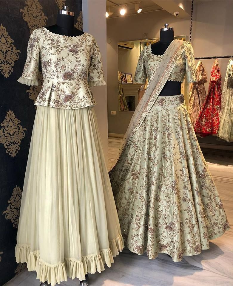 e26944e232d5 Love this cream embroidered peplum blouse with plain lehenga skirt.  #Frugal2Fab