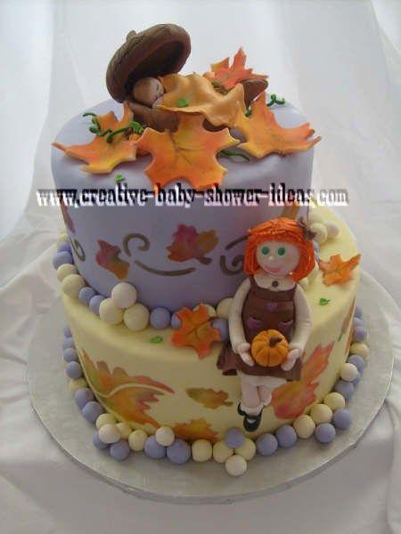 Autumn Baby Shower Cake With Fondant Flowers Acorns Sleeping Baby
