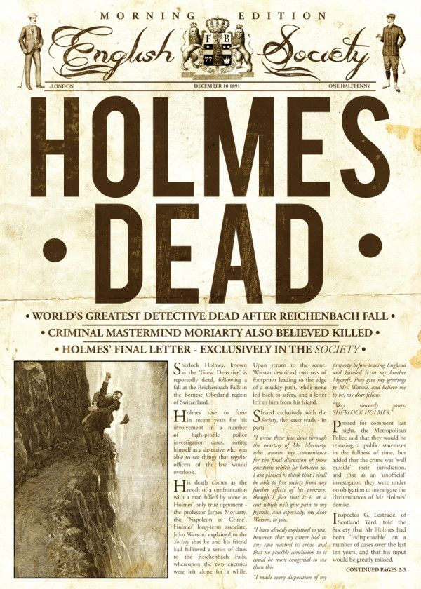 Holmes Dead Newspaper by Mr Zero   metal posters