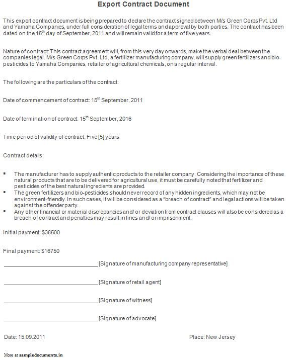 Export Contract Document Sample Contracts – Export Contract Sample