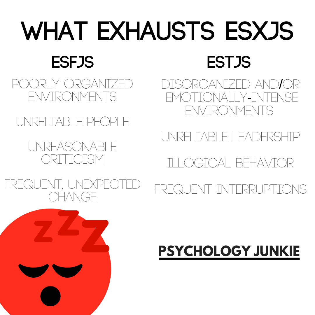 Find out what drains ESFJs and ESTJs in daily life.