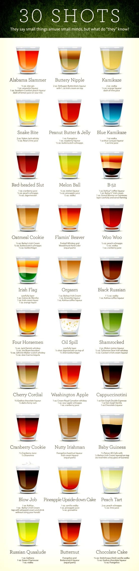 30 Shots Recipes. YUMMY