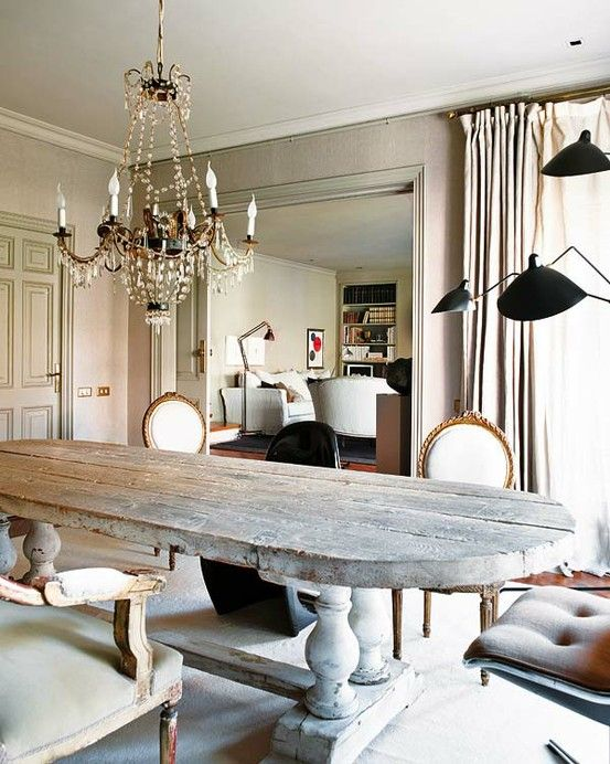 I truly heart this table rustic farmhouse decor pinterest decorative dining room interior design ideas with natural style white wall and chandelier in night also wooden table complete chair white cushion also aloadofball Image collections