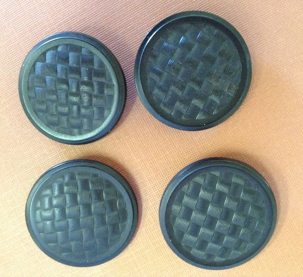 4 ANTIQUE GOODYEAR HARD RUBBER BUTTONS BASKET WEAVE 1851 LARGE ...