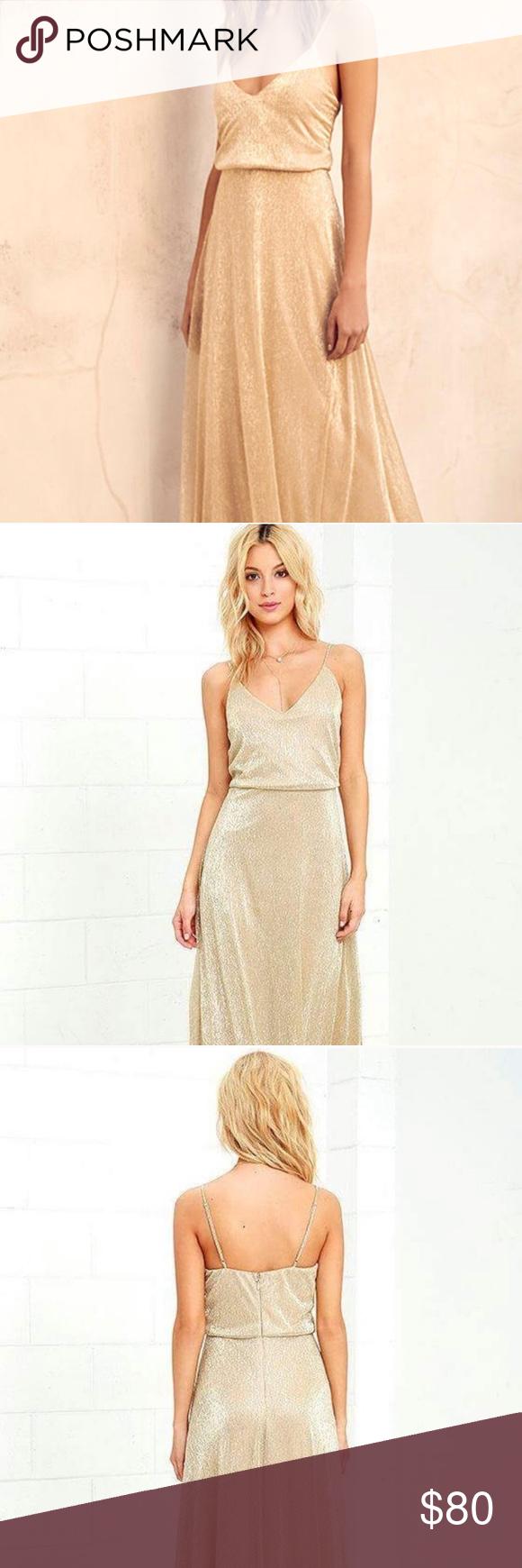 "b5169061ab NWT Lulu s Friend of the Glam Gold Maxi Dress - XS Never worn! ""All ..."
