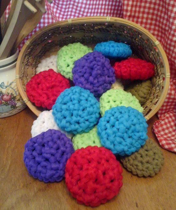 Set of 5 Pot Scrubber Hand Crochet Nylon Scrubbies Kitchen Scrubby ...