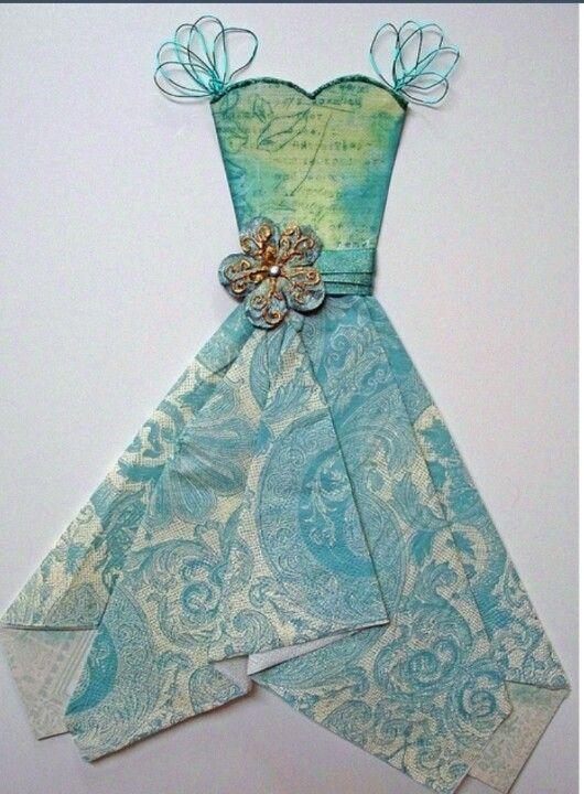 Vestido hecho con papel y servilletas maniqu es - Origami con servilletas ...