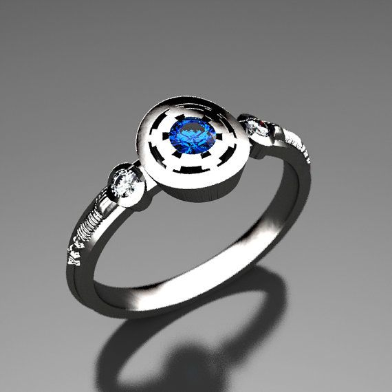 Empirial Star Wars Engagement Ring in Silver Palladium or Gold