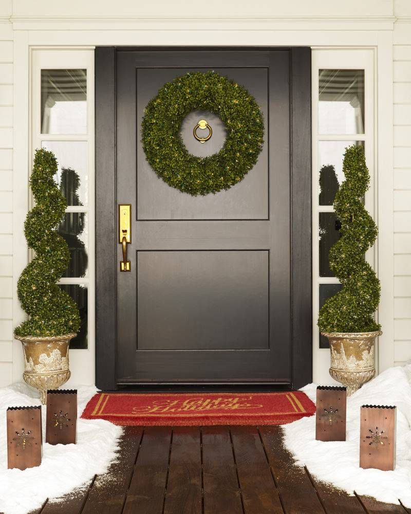 Battery-Operated Boxwood Artificial Topiary  Balsam Hill  Porch