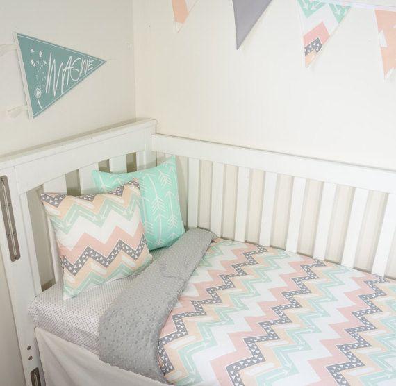 Blush Nursery With Neutral Textures: Mint Blush Grey Peach Chevron And Grey Minky Nursery By