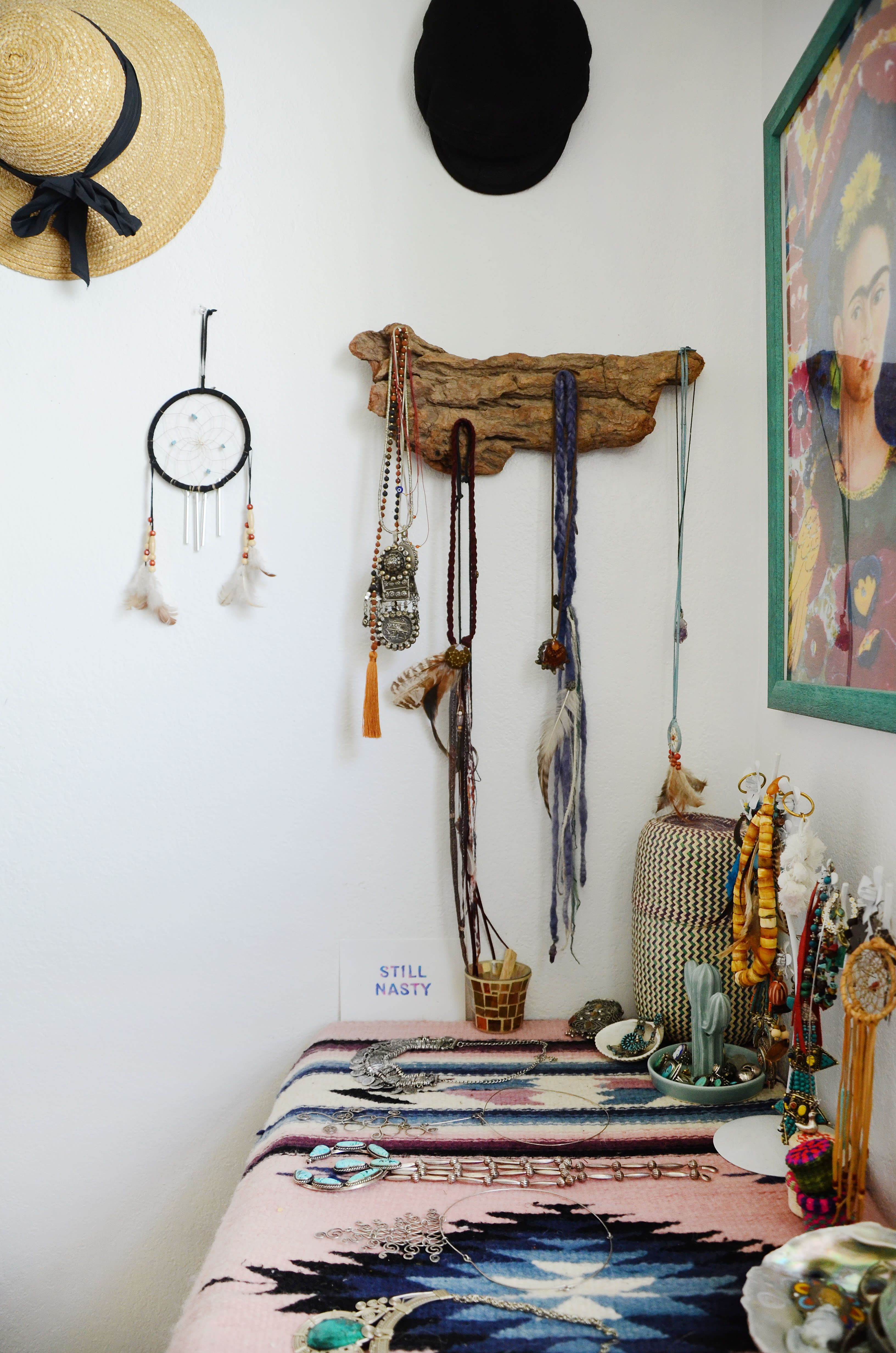 An earthy bohemian home is packed with terrific textiles home