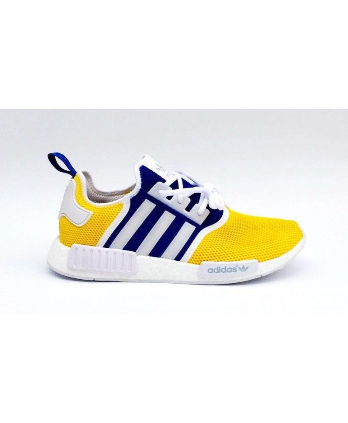 2cc349da15bc2 Adidas NMD R1 Custom Trainers In Yellow Blue