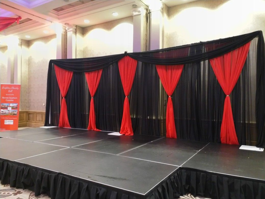 Black And Red Stage Backdrop Hollywoodthemedbackdrop Weddingbackdrop Corporatebackdrop Dazzlingde Wedding Backdrop Prom Backdrops Red Wedding Decorations