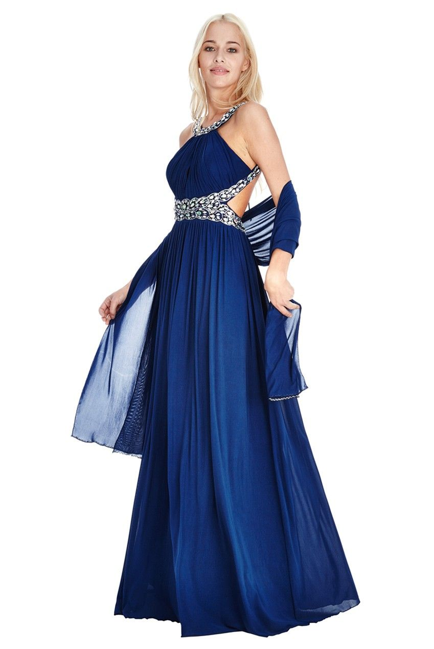 070c16e18d Embellished Jersey Chiffon Prom Dress with a Scarf - Navy