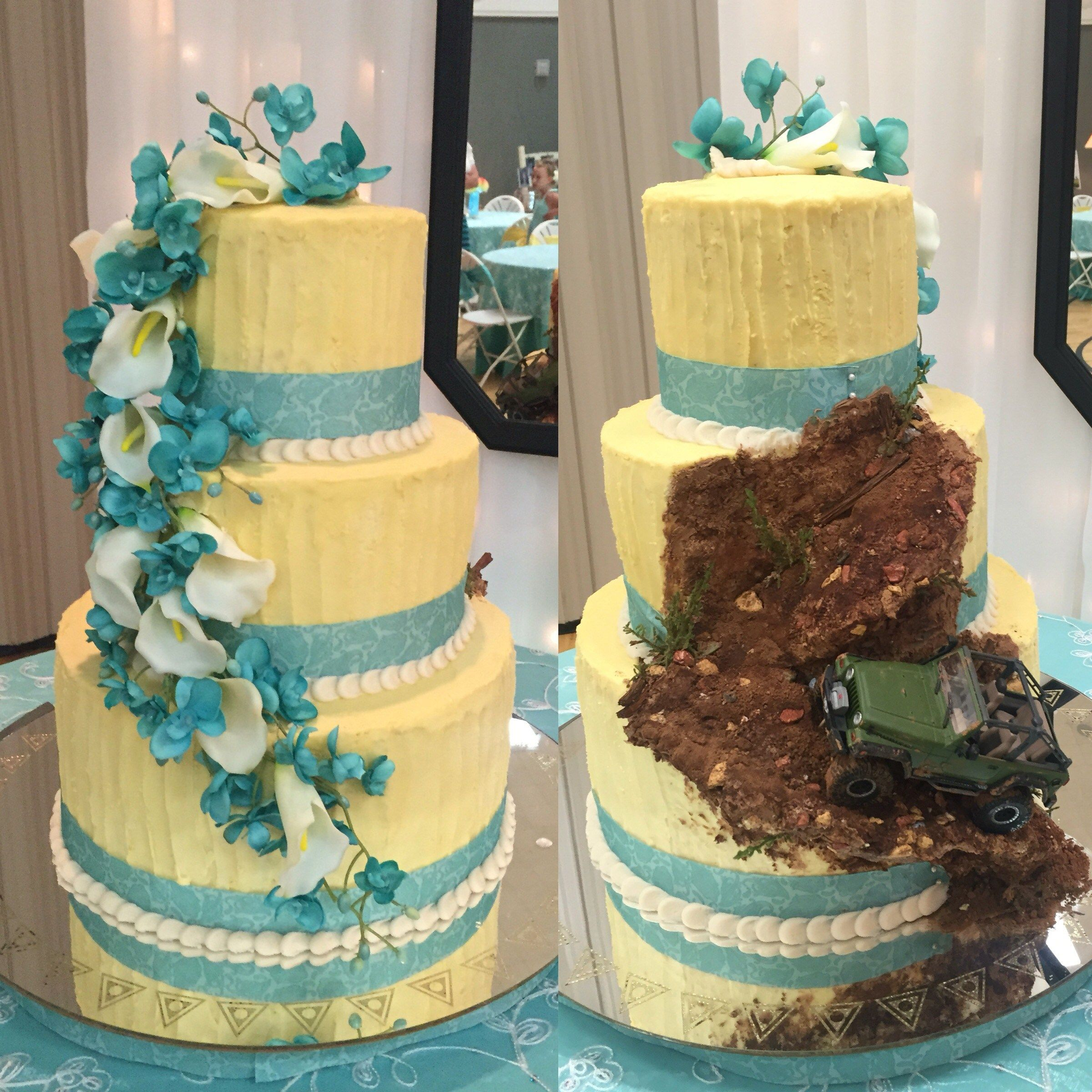 Double sided wedding cake for him and her Combining two wedding