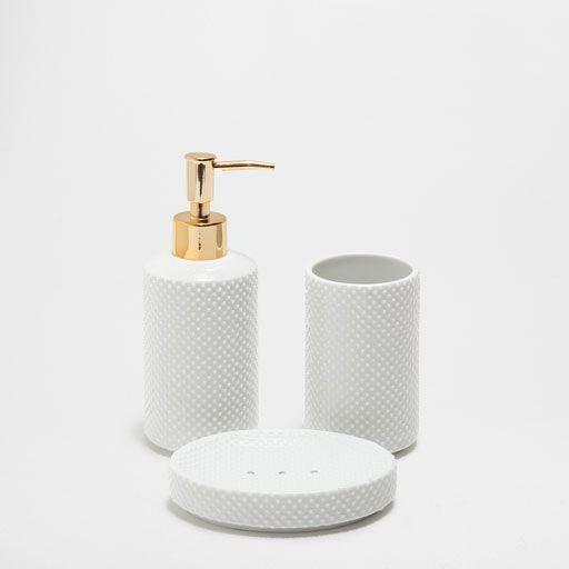 Accesorios De Bano Ceramica Puntos Relieve Com Imagens