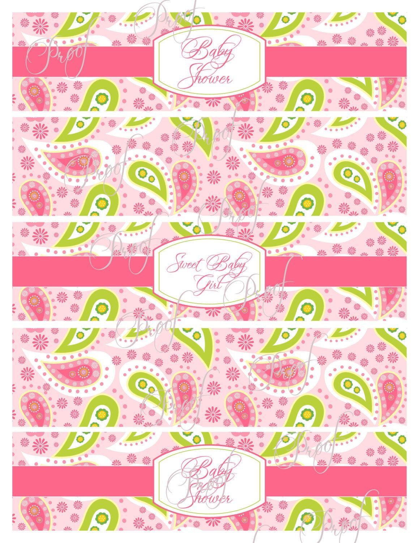 Pink paisley baby shower water bottle wrap от JameneInvitations