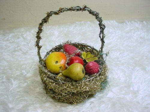 Vintage Tinsel Wire Wrapped Metal Fruit Basket Ornament | eBay