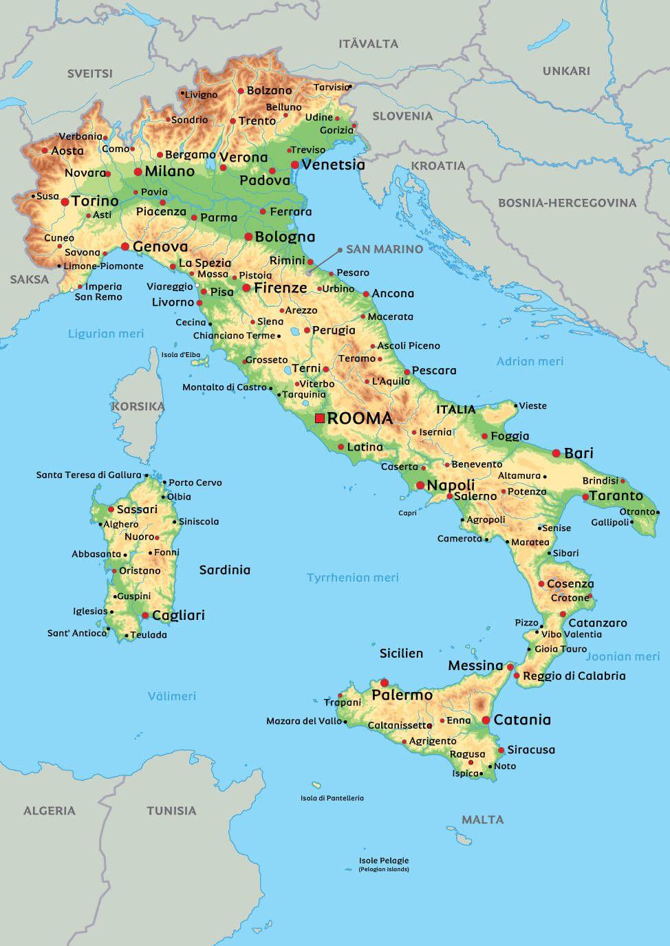 Kartta Italiasta: kts. esim. kaupunkien sijainti kartasta