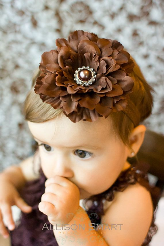 baby girls headband brown flower with pearl by cutiepiegoodies ...