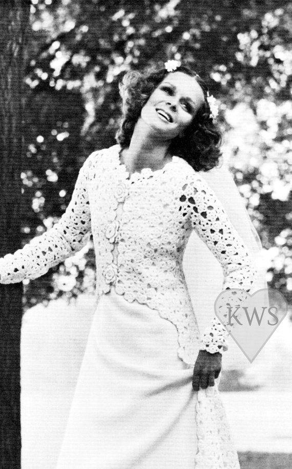 Vintage CROCHET Jacket & knitted Dress PDF Pattern - Wedding ...
