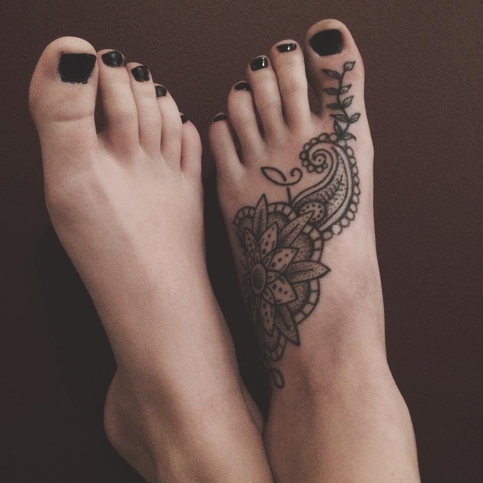paisley mandala foot tattoo