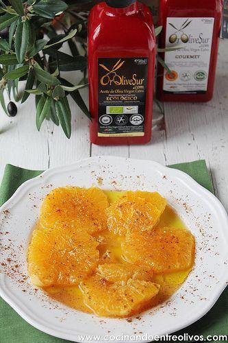 Naranjas con aceite de oliva virgen extra y canela. Paso a paso