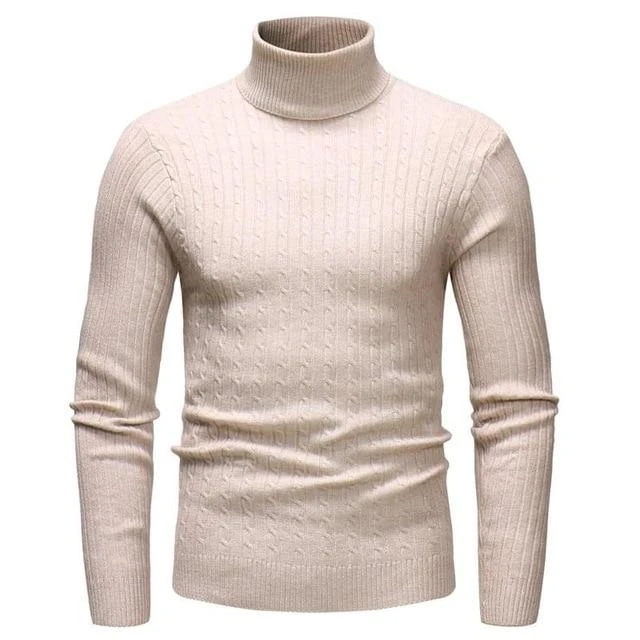 Winter Mens High Collar Thick Warm Sweater Slim Knit Turtleneck Tops Casual Chic
