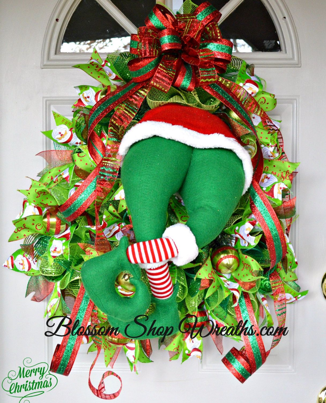 on hold for mitzi wreath sale christmas wreath deco mesh wreath elf butt christmas elf. Black Bedroom Furniture Sets. Home Design Ideas
