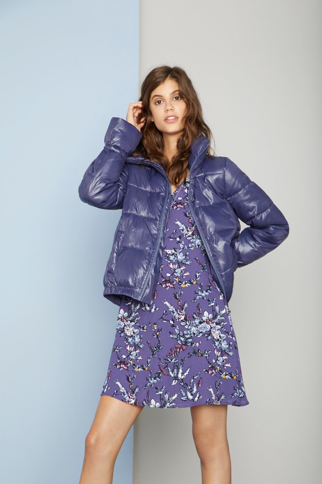 9be3315ba85 Throw a puffer over a pretty floral dress for an instantly chic look ...