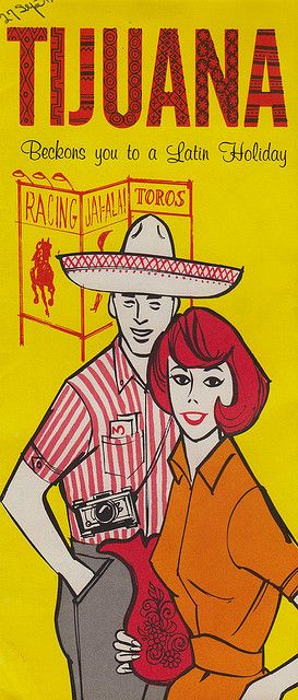 TIJUANA BECKONS YOU TO A LATIN HOLIDAY MEXICO COUPLE TRAVEL VINTAGE POSTER REPRO