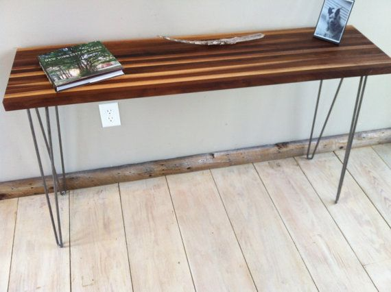 Mid Century Modern Sofa Table, Entry Table Or Console Table Featuring  Walnut Top And Hairpin