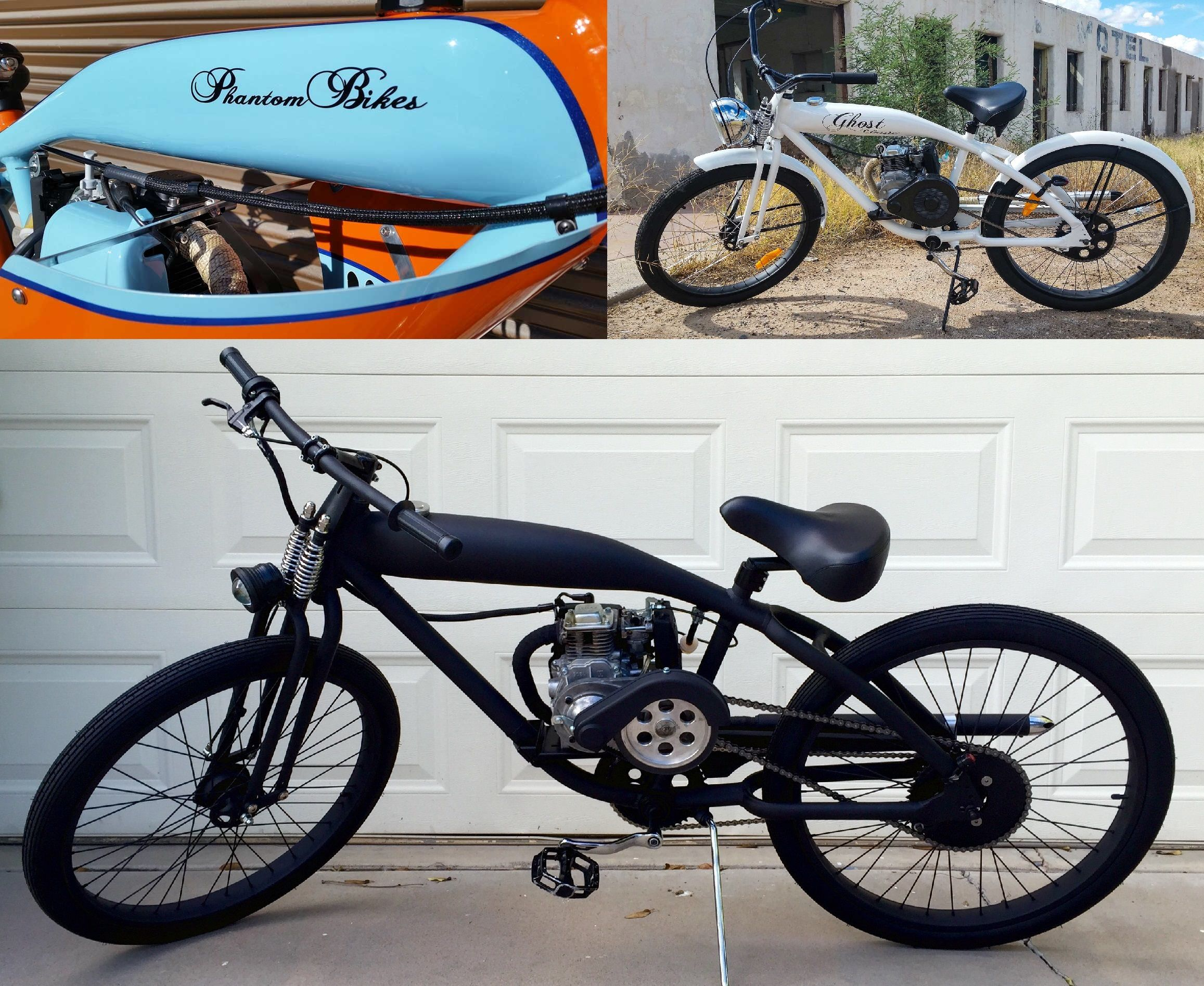 PHANTOM BIKES - 49 cc motorized bicycles. Street legal with no license required. They