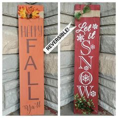 Holiday Reversible Porch Sign Hand Painted Wood Sign Fall