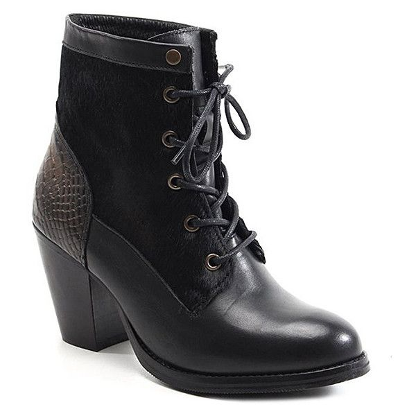 Bronx Black Mar Laina Leather Bootie ($26) ❤ liked on Polyvore featuring shoes, boots, ankle booties, ankle boots, plus size, lace up booties, black high heel boots, faux leather booties, lace-up ankle boots and short black boots
