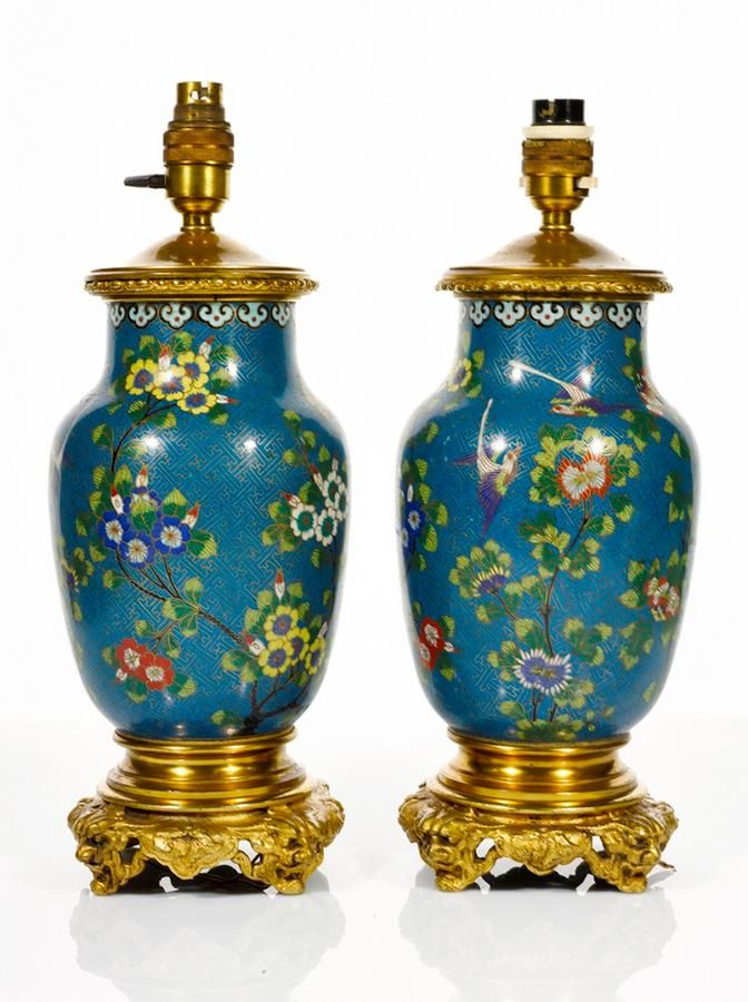 Pair Of Chinese Cloisonne Lampu2026   Fine Furniture, Paintings, Decorative And  Asian Arts