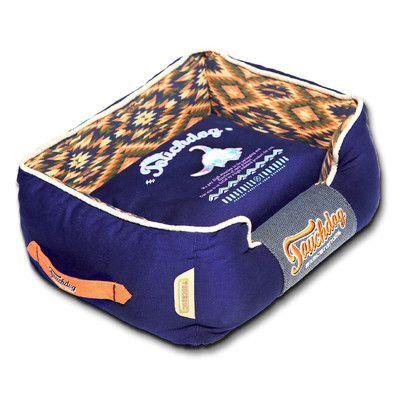 "Pet Life 70's Vintage-Tribal Throwback Diamond Patterned Ultra-Plush Rectangular-Boxed Dog Bed Size: Medium (21.7"" L x 17.7"" W), Color: Blue"