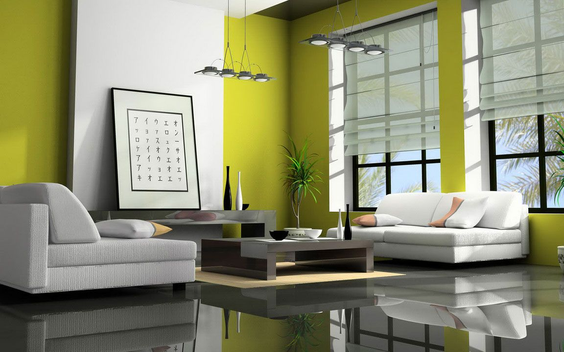 Bold Green Wall Color Scheme And Abstract Wall Art Decoration In Modern  Living Room Decorating Designs Ideas Simple Ideas In Decorating Your Living  Room ...