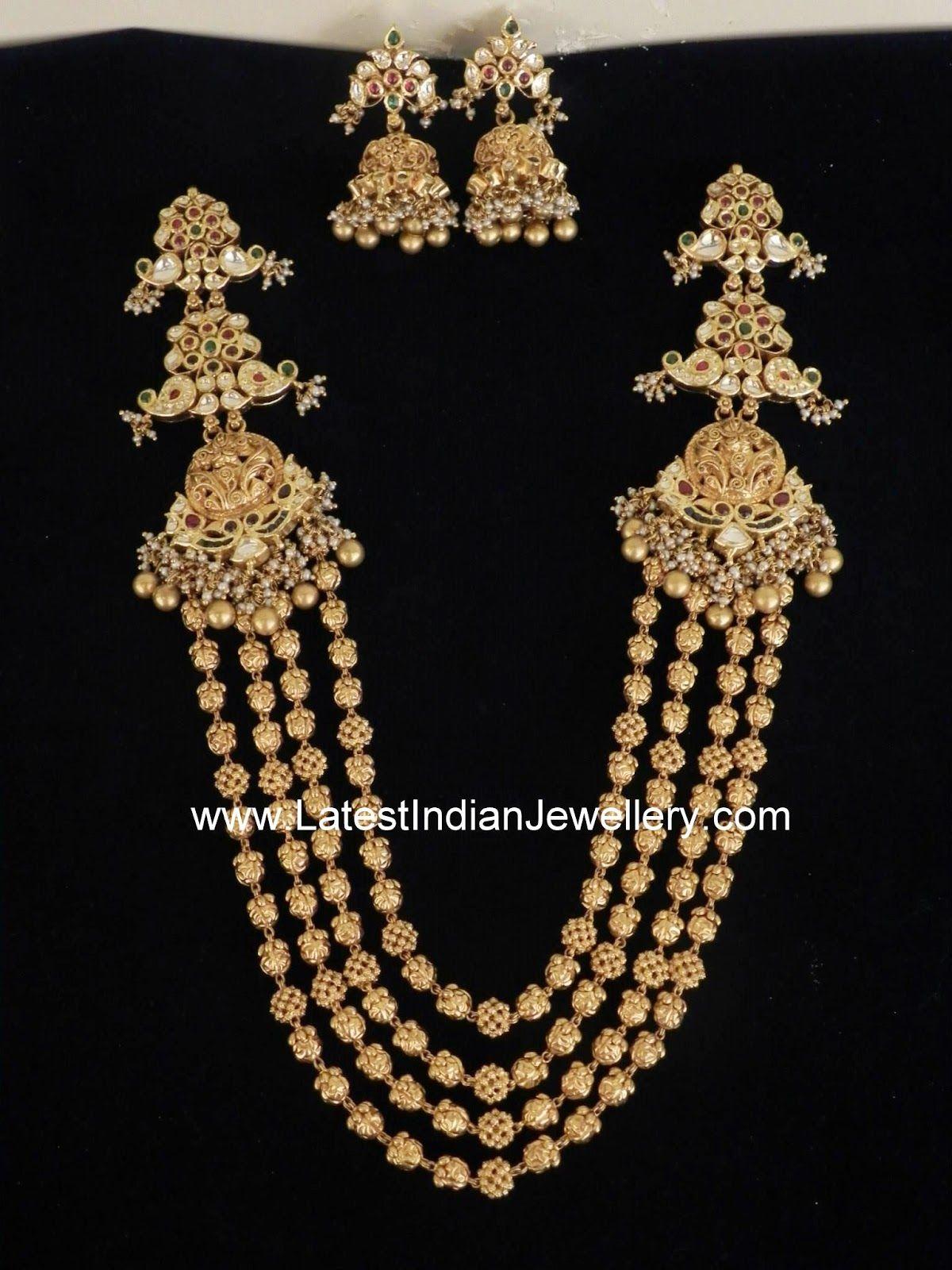 And contemporary gold jhumkas collection by khazana jewellery - Gold Gundla Mala Chandra Haram Wedding Jewellery Designswedding