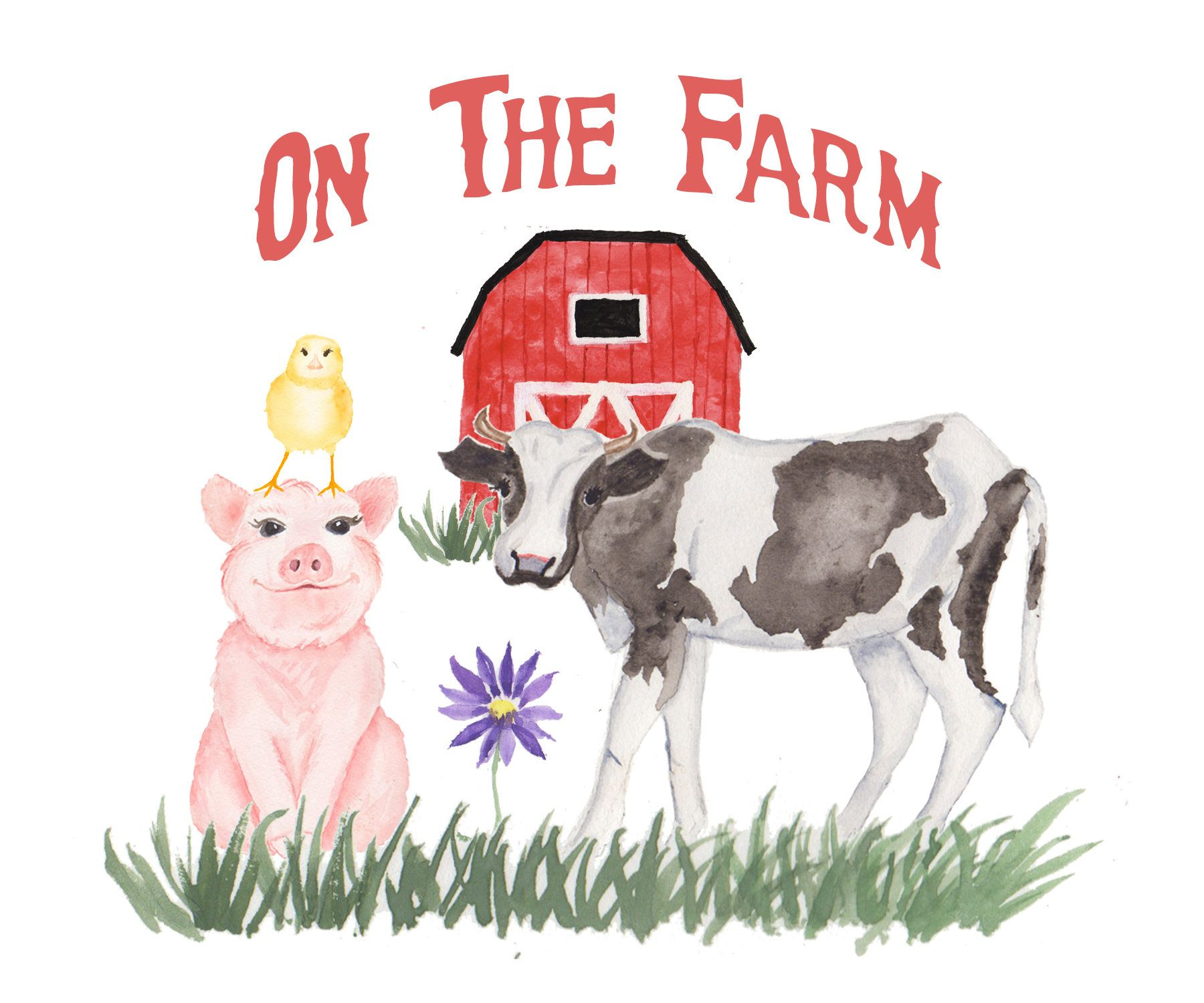 Watercolor Farm Animal Clipart Cow Pig Baby Chick Barn By GiddyPopGraphics