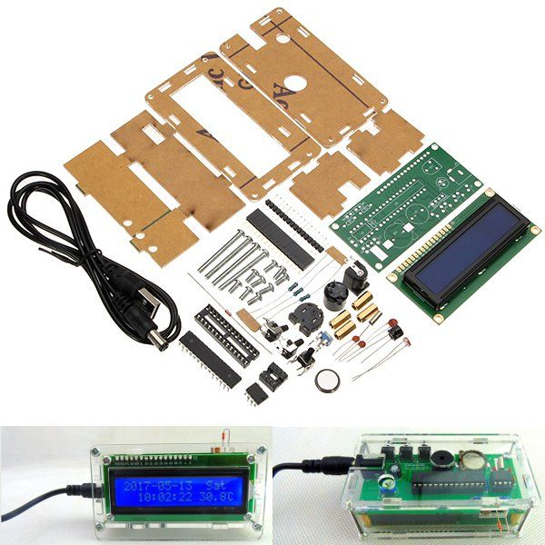 LCD 1602 DC 5V DIY Electronic Clock Kit Temperature Alarm Function ...
