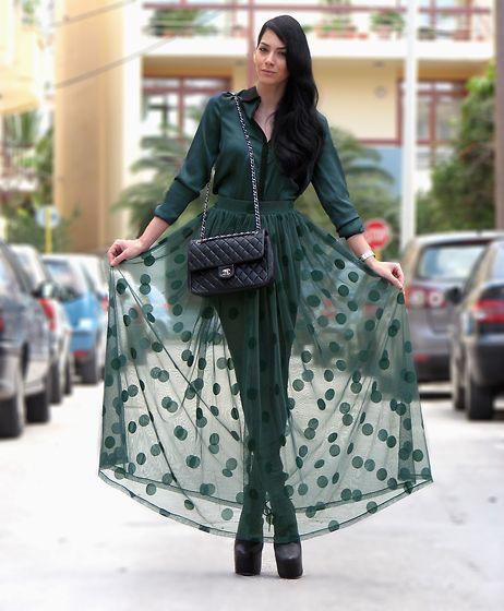 Romwe Long Skirt, Zara Silk Shirt, Chanel Leather Bag, Jeffrey Cambell Lana Booties