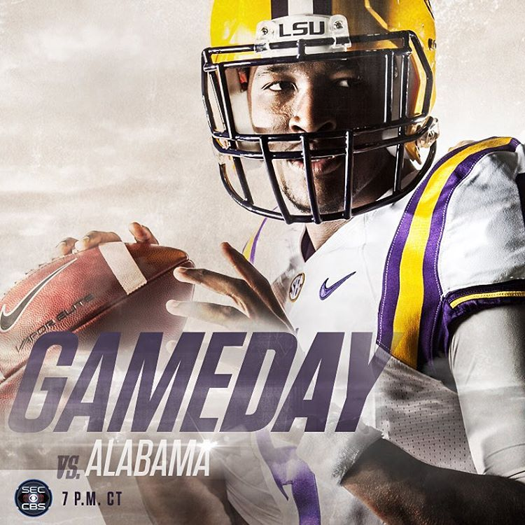 """""""GameDay! LSU vs. Alabama at 7 pm CT on CBS. #GeauxTigers"""""""