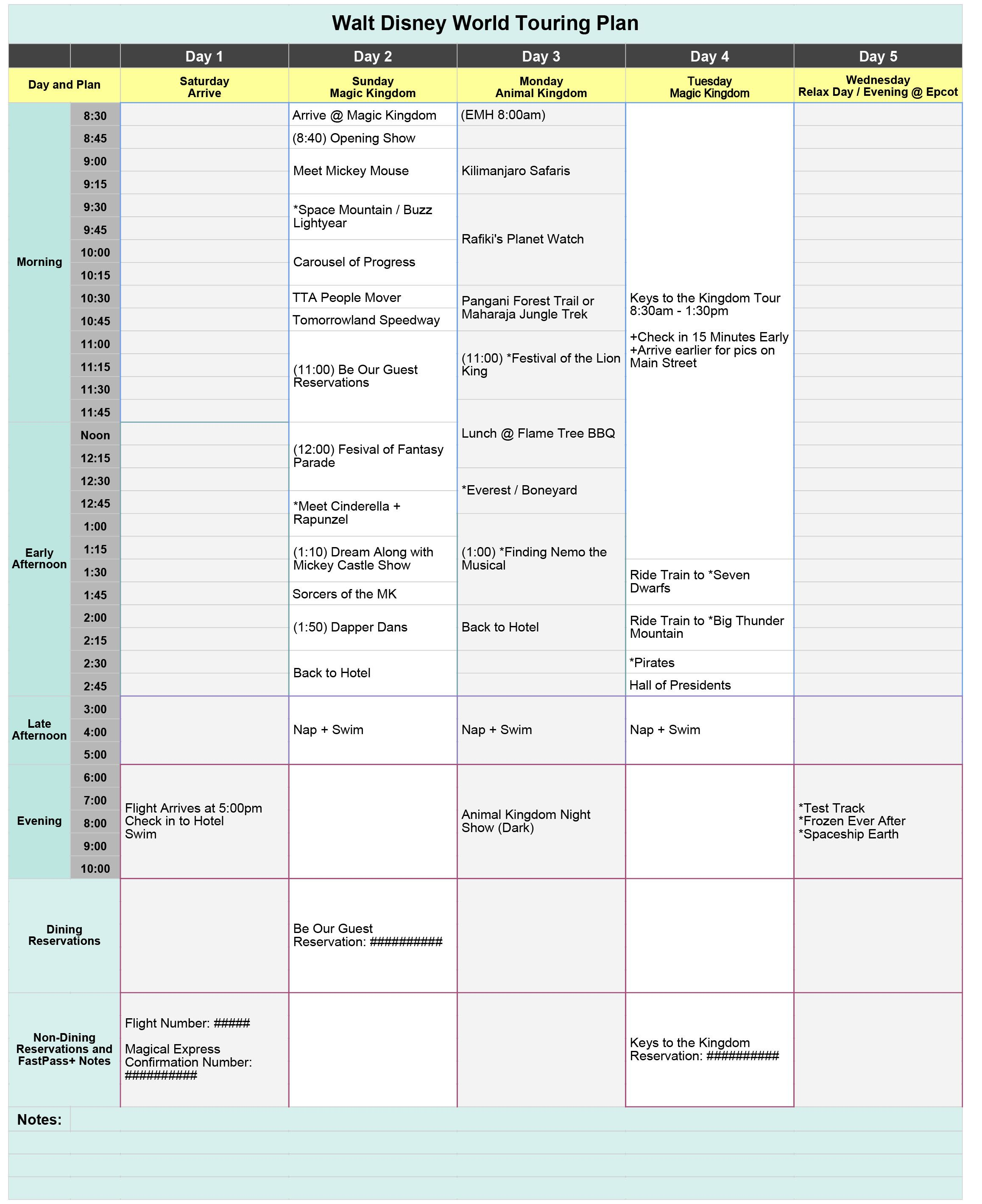 Free Disney World Touring Plan Spreadsheet