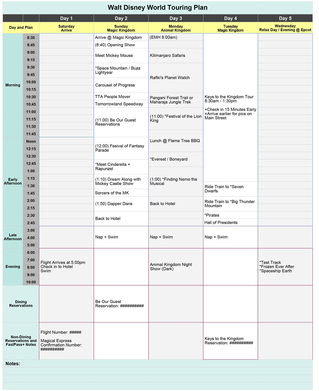 Free Disney World Touring Plan Spreadsheet